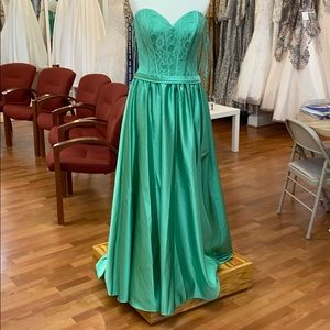 Juniper green bridesmaid dress with lace